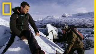 Rob Riggle Ice Climbing in Iceland | Running Wild With Bear Grylls