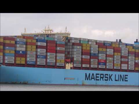 Fully loaded Majestic Maersk departs the Port of Felixstowe for Malaysia  5th August 2017