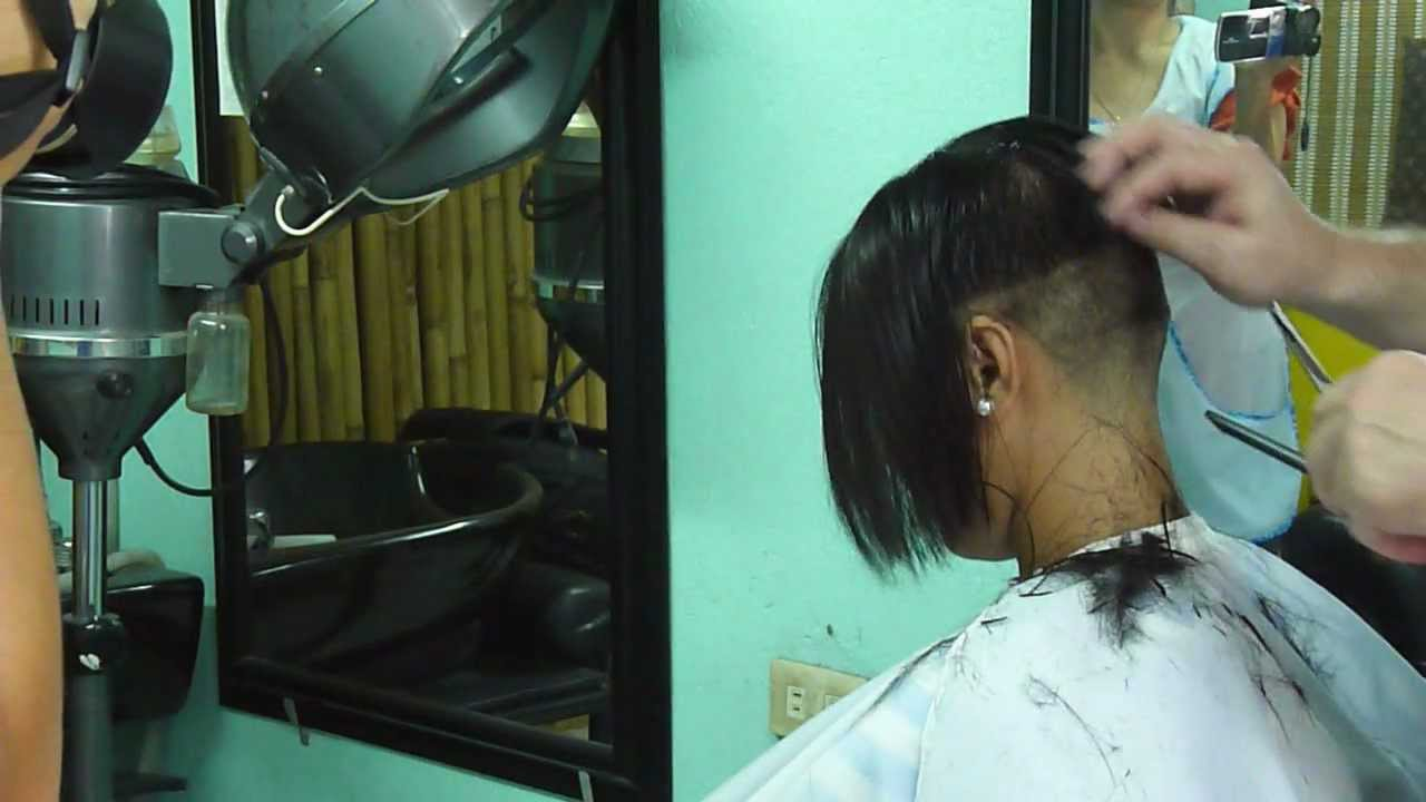 Extreme Bob Cut At The Barbershop Youtube