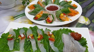 생선회가 들어간 라이스페이퍼 요리 | 광어요리 | 광어…