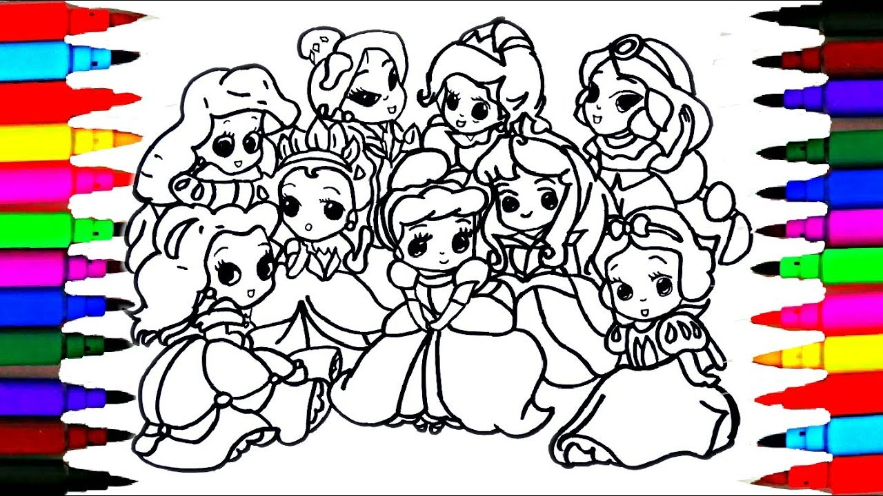 How To Draw The 9 Disney Princess Baby Coloring Drawing Pages Videos