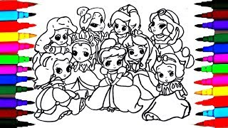 How to Draw The 9 Disney Princess Baby Coloring Drawing Pages Videos for Kids l Art l Colored PENS