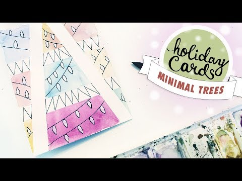 HOLIDAY CARD #2: Illustrated Watercolor Christmas Trees (Easy, Beginner Tutorial)