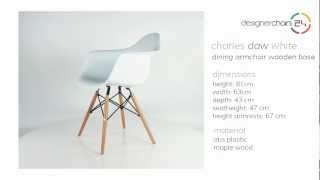 Eames Dining Armchair Wooden Base (daw) White