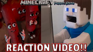 Sausage Party Trailer Puppet Steve Reaction Video - Minecraft Puppet Steve
