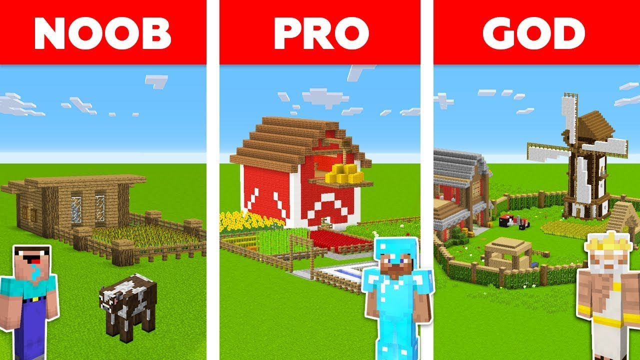 Minecraft NOOB vs PRO vs GOD: VILLAGE FARM BUILD CHALLENGE in Minecraft / Animation