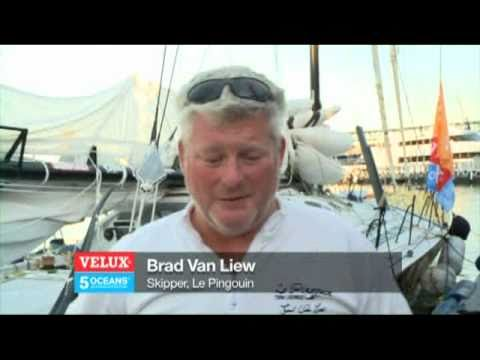 Velux 5 Oceans Race -- Brad Van Liew Arrival In Cape Town Winner of Leg 01