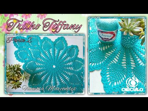 💙Trilho de mesa Tiffany em Crochê.2/3 Por Vanessa Marcondes.
