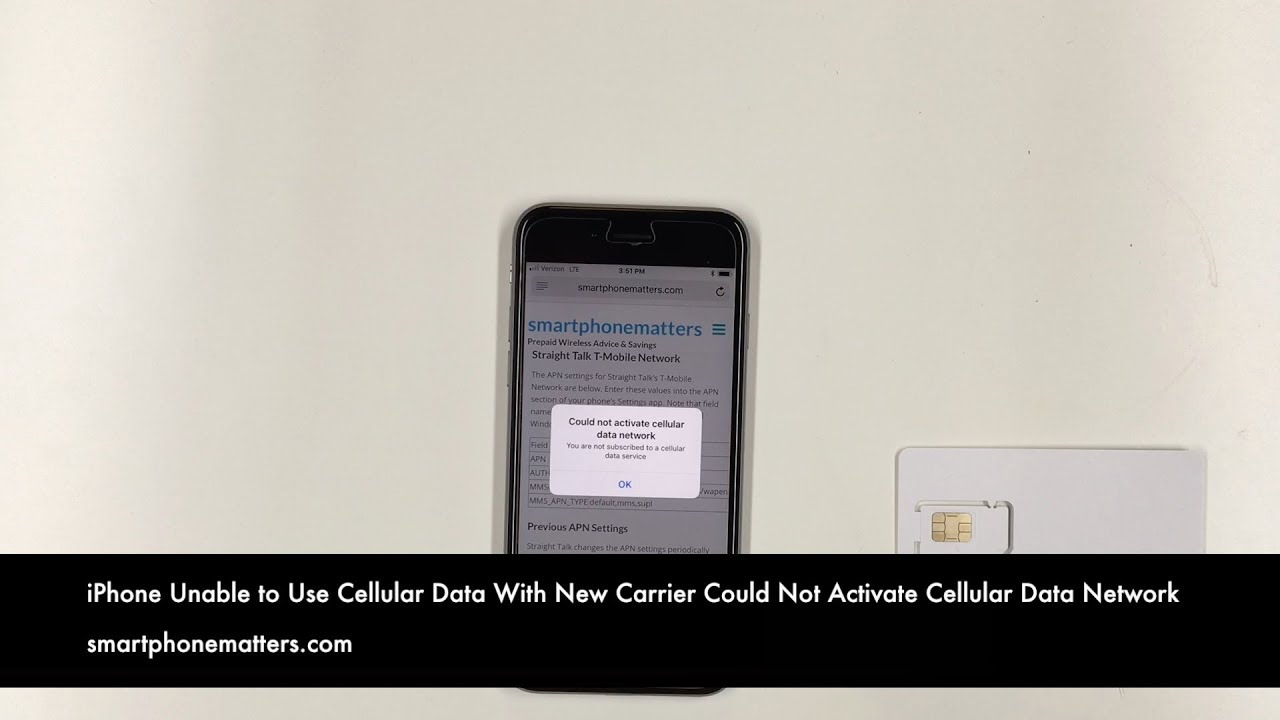 iPhone Unable to Use Cellular Data With a New Carrier Could Not Activate  Cellular Data Network