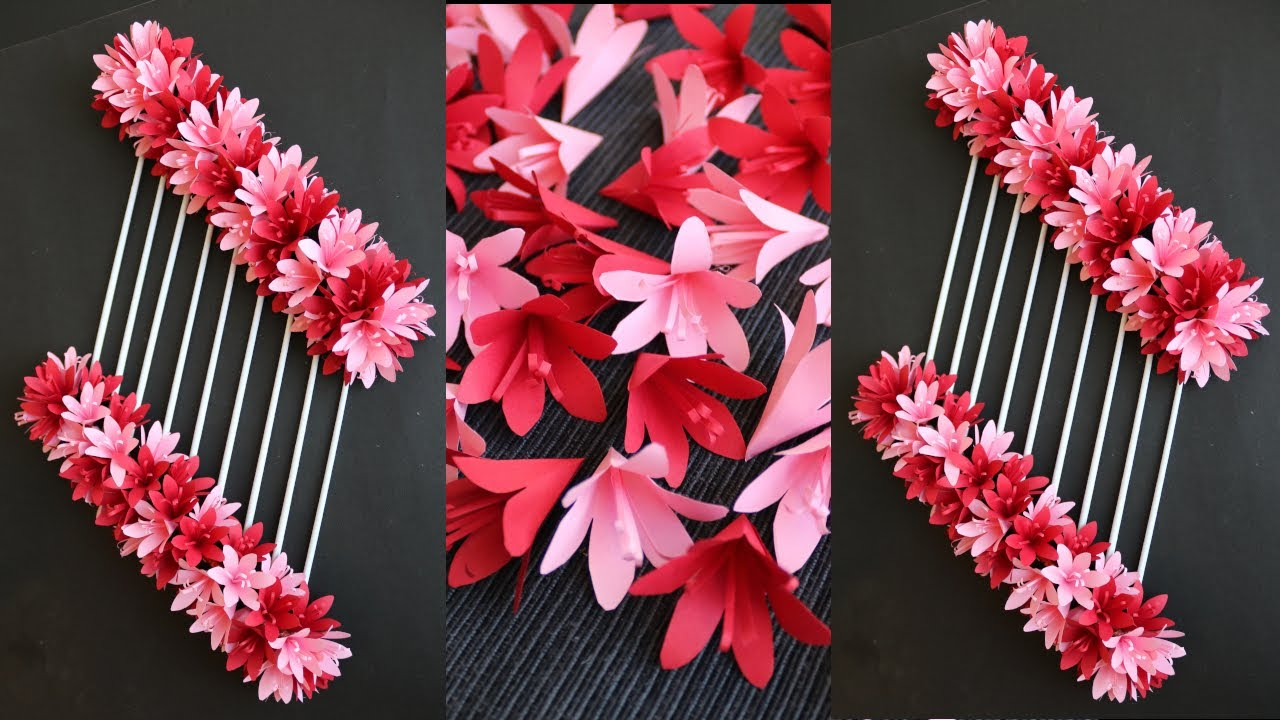 Paper Flower Wall Hanging- Easy Wall Decoration Ideas - News Paper Craft - Paper Craft