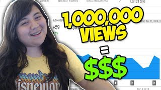 this is how much youtube paid me for my 1 million viewed video *NOT CLICKBAIT*