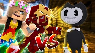 WONDERWOMAN & IRONMAN VS BENDY! Minecraft Hello Neighbour w/LittleKelly