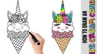 ice cream kawaii drawings easy unicornio dibujar unicorn cono dibujos unicornios step como nieve pintar imagenes faciles colorear draw drawing