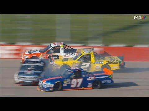 NASCAR Camping World Truck Series 2018. Iowa Speedway. Restart Crash