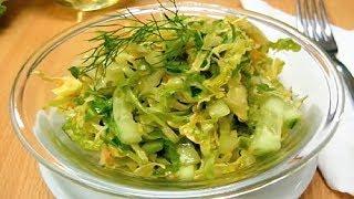 Салат из Капусты и Огурцом. Салат из Свежей Капусты #салат #salat .