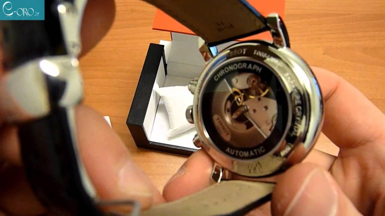 741d76edc23 TISSOT Carson Black Leather Automatic Chrono Men's Watch T0684271605100 -  E-oro.gr - YouTube