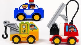 Police Car Fire Truck Tow Truck Toys Car Vehicles Playset Building Blocks for Kids
