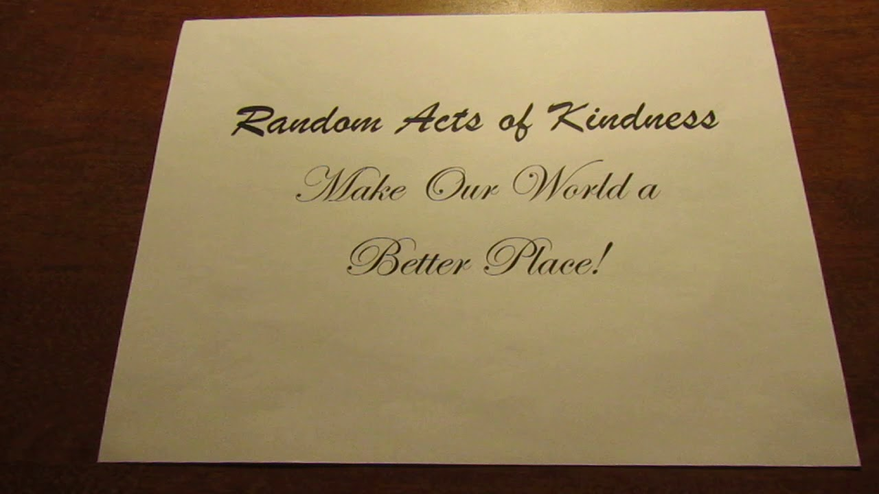Random Acts of Kindness for Nov 25 2018