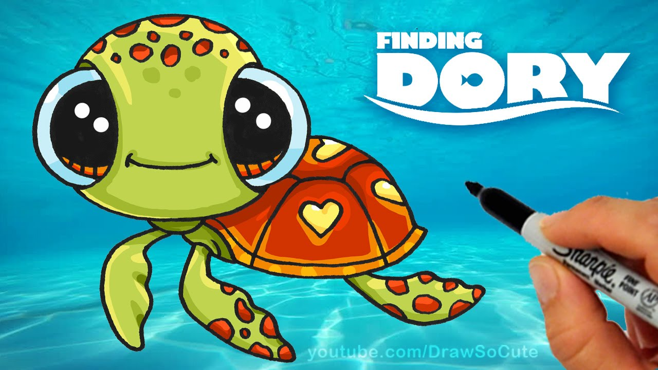 how to draw from finding dory step by step cute sea turtle