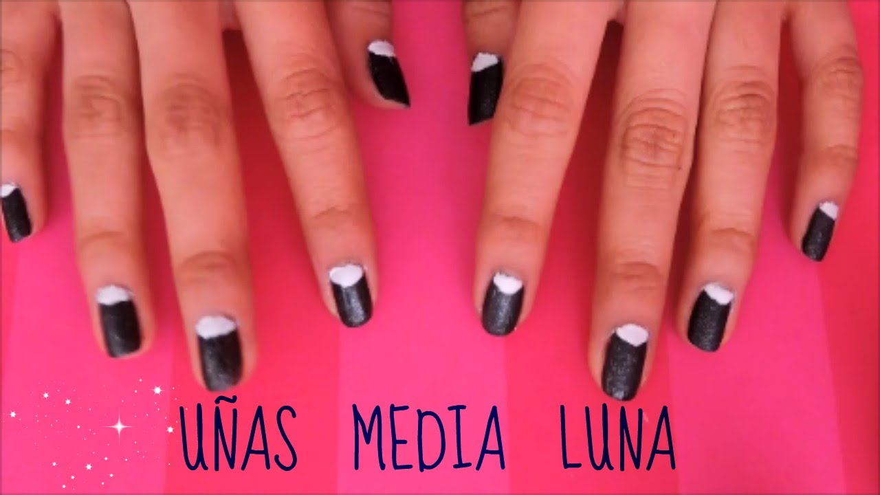UÑAS MEDIA LUNA - SIN PINCEL NI STICKER - MARIE - YouTube