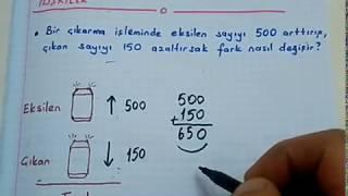 4. ve 5. sınıf matematik Eksilen, çıkan ve fark arasındaki ilişkiler