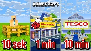 Minecraft BUDUJĘ SKLEPY W 10 SEKUND, 1 MINUTĘ I 10 MINUT!