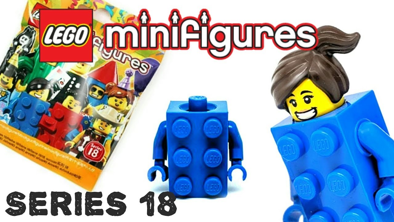 Series 18 birthday party lego mini figure BLUE BRICK SUIT GIRL