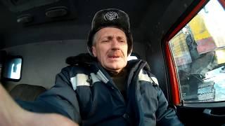 Работа автокрана  Галичанин в лютый мороз.