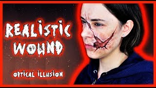 Makeup tutorial of a realistic open wound, optical illusions  | Silvia Quiros