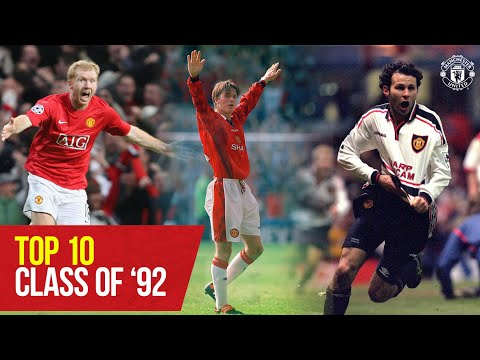 Top 10 Class of '92 | Beckham, Butt, Giggs, G.Neville, P.Neville, Scholes | Manchester United