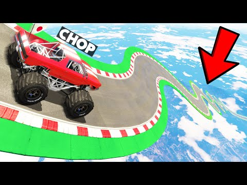 CHOP CHALLENGED ME TO A MONSTER TRUCK MEGA RAMP JUMP PARKOUR in GTA 5! (99.9% EPIC)