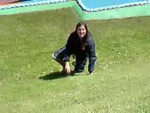 Kirsty falling down hill in cleethorpes