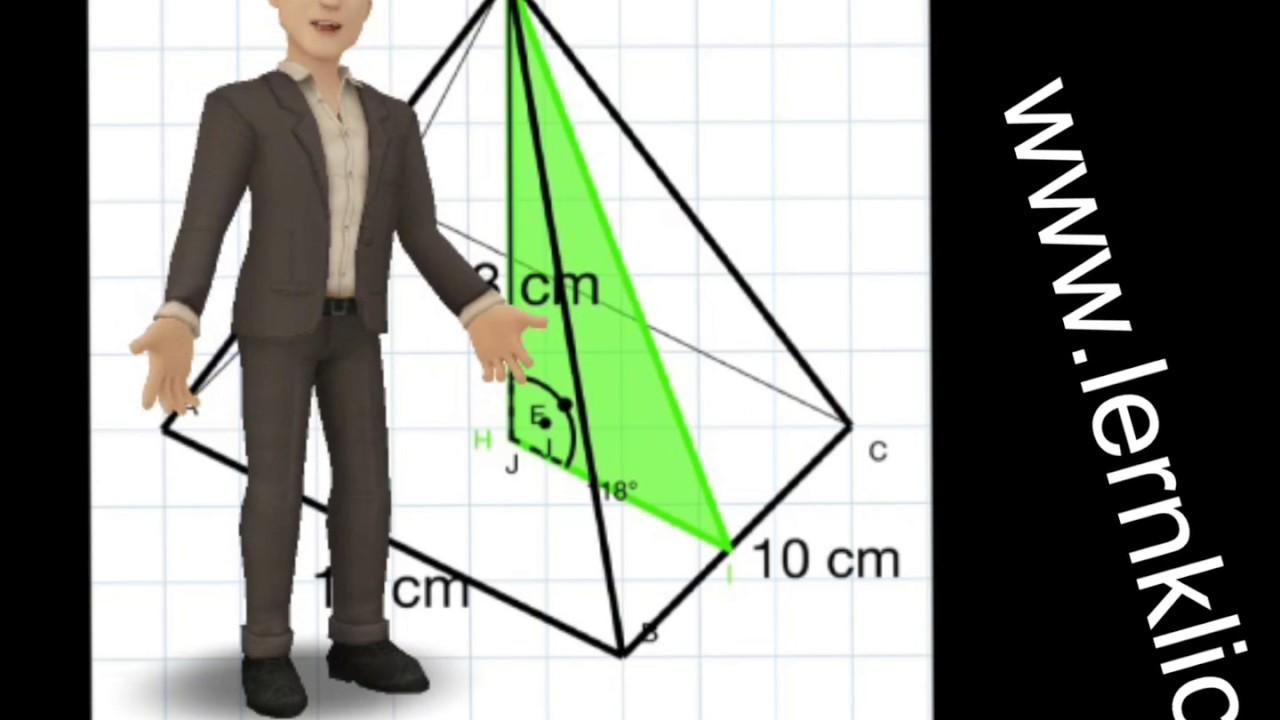 quadratische pyramide h he der seitenfl che youtube. Black Bedroom Furniture Sets. Home Design Ideas