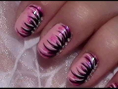 pink schwarzes nageldesign mit nagellack selber machen nail art design tutorial youtube. Black Bedroom Furniture Sets. Home Design Ideas