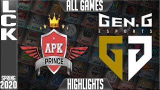 APK vs GEN Highlights ALL  GAMES | LCK Spring 2020 W8D1 | APK Prince vs Gen.G