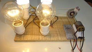 Chế máy phát điện mini thắp 5 bóng điện 220v 6w cùng lúc |  creating electric generator electric