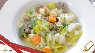 Rindfleischsuppe I Rezept I Einfache Suppe kochen mit frischem Gemüse und Beinscheibe