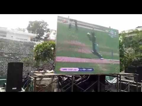 Rishikesh people watching I India Vs Pakistan match live on big screen
