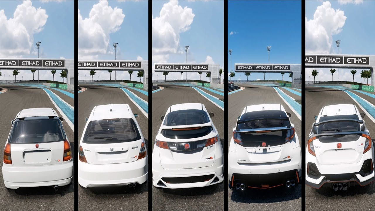forza motorsport   honda civic type    generations comparison gameplay hd