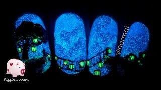 Glow in the dark bridge nail art tutorial by PiggieLuv