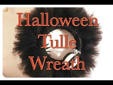 diy halloween tulle wreath idea