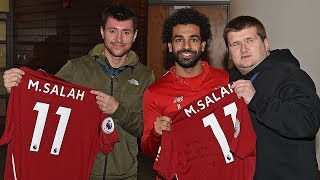 Mo Salah invites viral star Mike Kearney to Melwood |