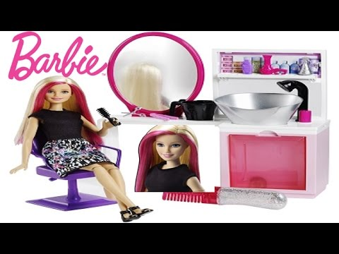 barbie kuaför salonu oyun seti  yeni  barbie sparkle style salon  play  set