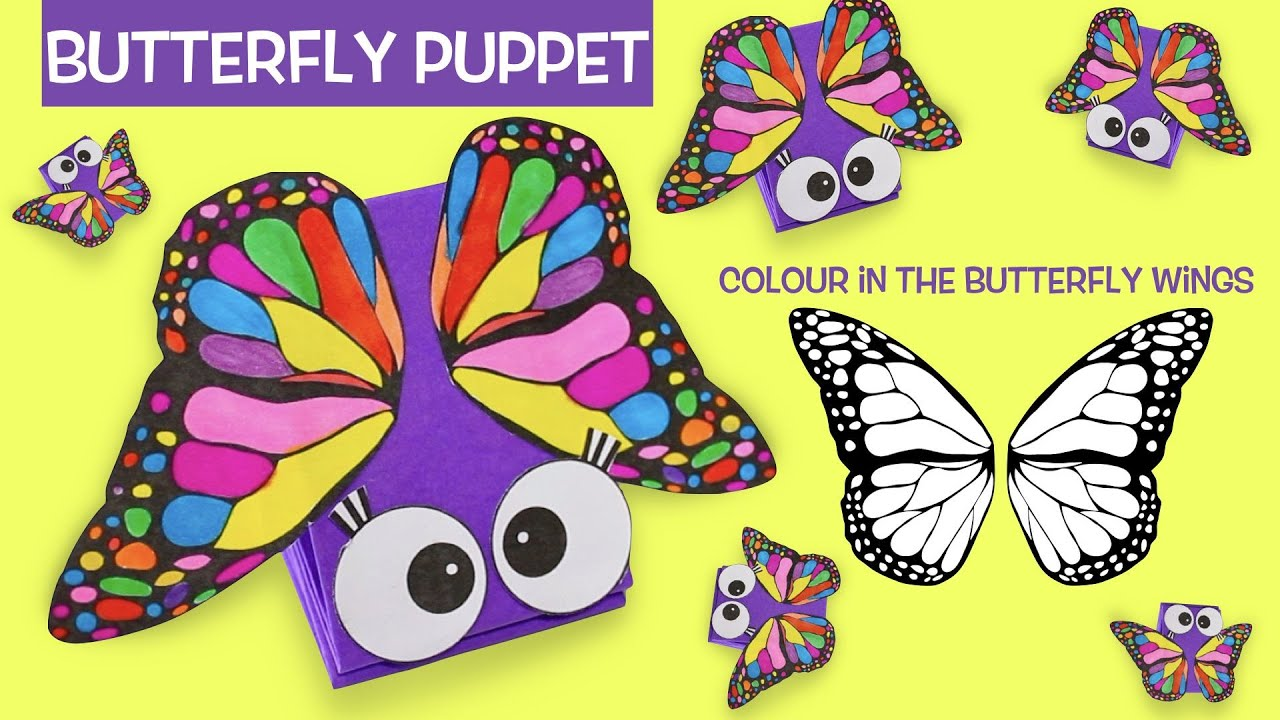 how to make a butterfly paper puppet | color in the butterfly wings