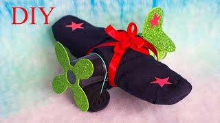 DIY sock plane   САМОЛЁТ из НОСКОВ. Подарок на 23 февраля