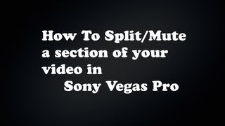How To Split/Mute A Section Of Your Clip In Sony Vegas Pro!