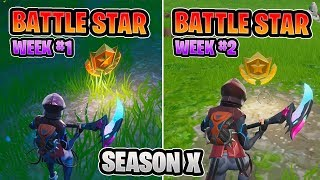 SECRET BATTLE STAR LOCATIONS! WEEK 1 & WEEK 2 FORTNITE [SEASON 10]