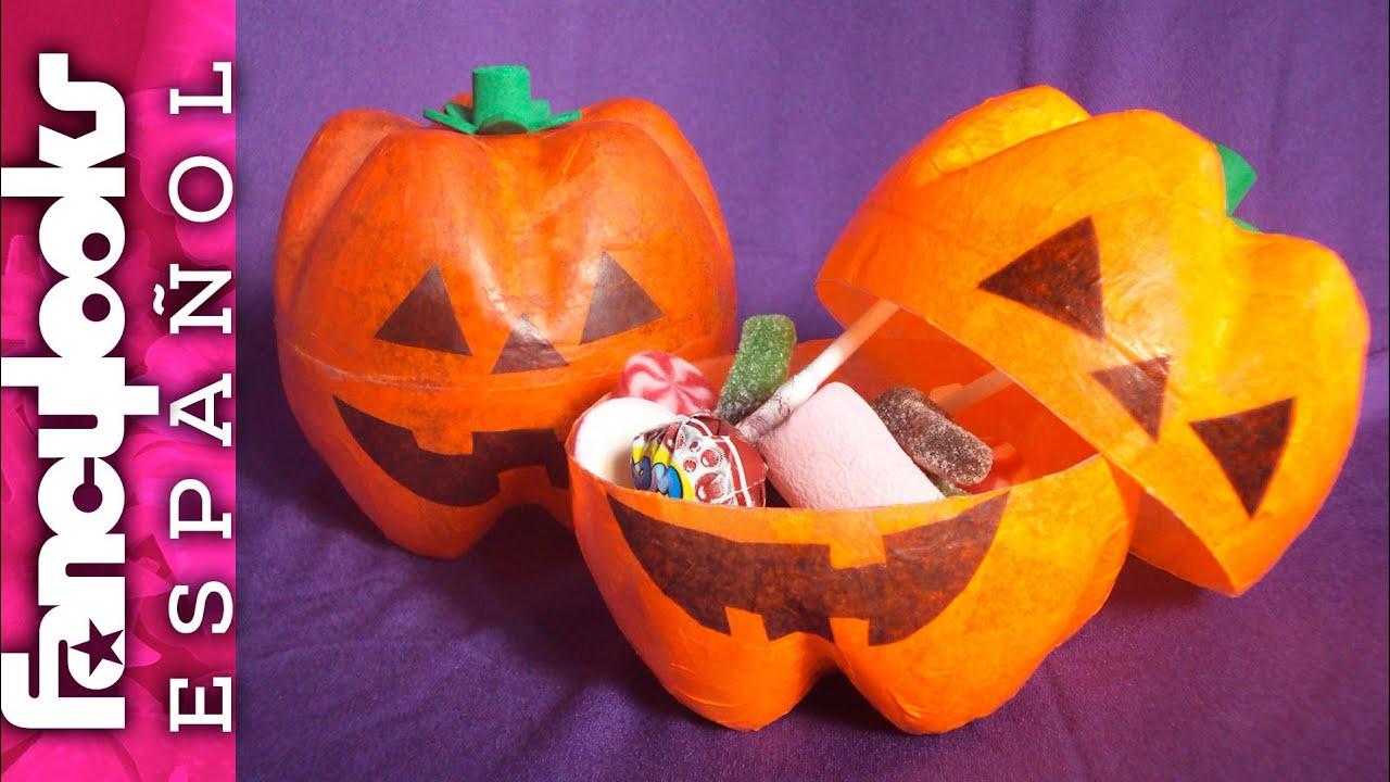 Dulcero calabaza de botellas de refresco halloween youtube for Decoracion de calabazas manualidades