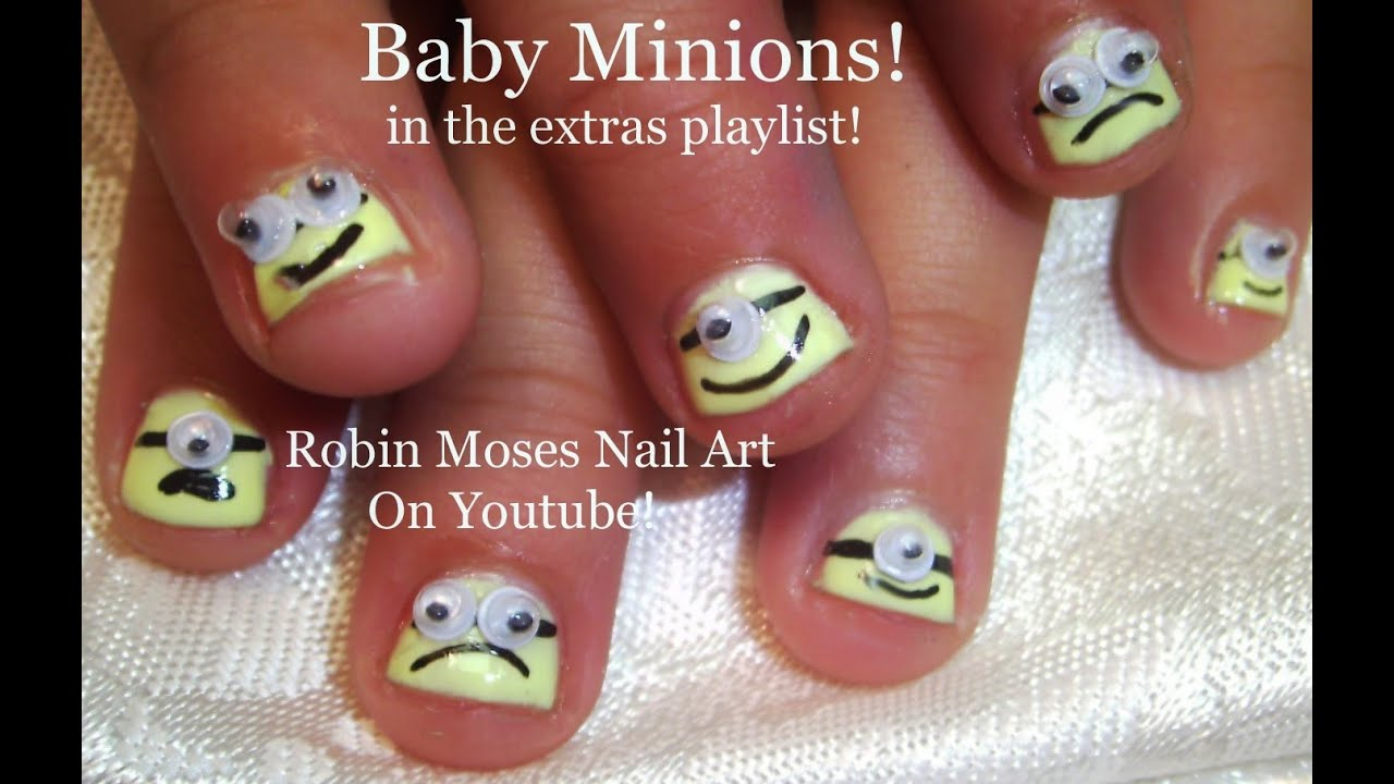 Nail Art Tutorial Diy Easy Minion Nail Design For Children Youtube