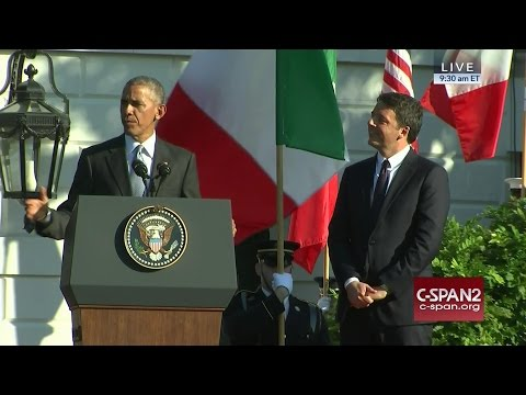 President Obama & Italian Prime Minister Renzi remarks at White House Arrival Ceremony (C-SPAN)